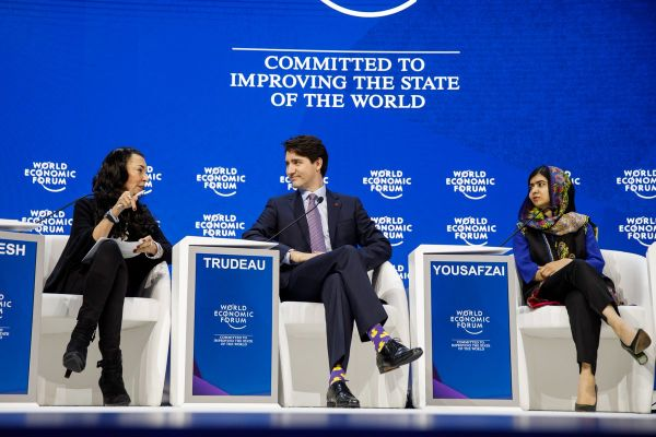 Pm Trudeau with Malala, Fabiola Gianotti, and Orit Gadiesh for a panel discussion on the importance of education in empowering women & girls.