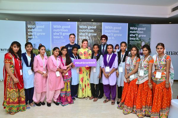 Sophie Grégoire Trudeau and Minister Harjit Sajjan joined schoolgirls from Gujarat to help launch the Asia phase of the She'll Grow Into It campaign in New Delhi.