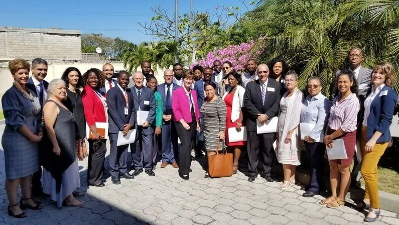 Minister Bibeau with representatives from Canadian health organizations working in Haiti.