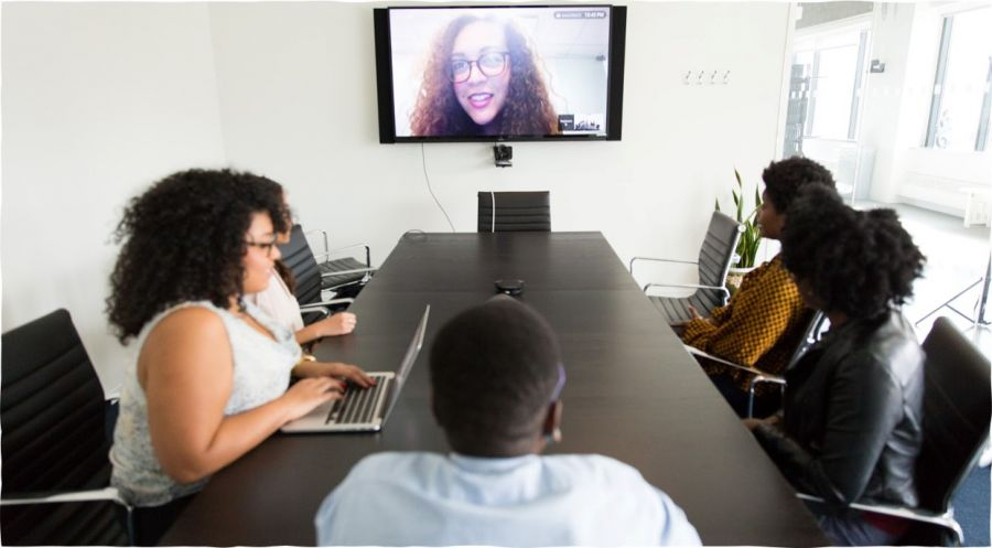 video conference call in a meeting room