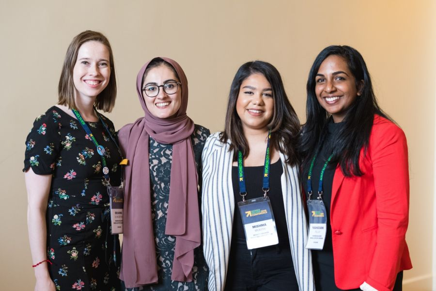 photo of four female bursary recipients at women deliver 2019