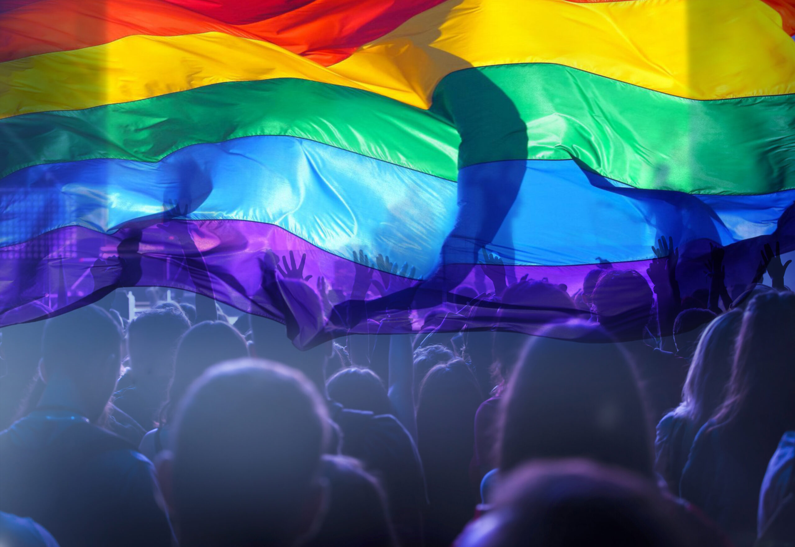 crowd of people standing under a pride flag
